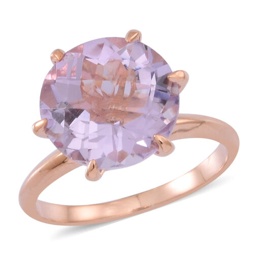 Rose De France Amethyst (Rnd) Solitaire Ring in 14K Rose Gold Overlay Sterling Silver 5.500 Ct.