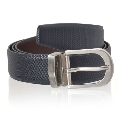 Genuine Leather Black and Brown Colour Mens Belt with Silver Tone Buckle (Size 43-47 inch)