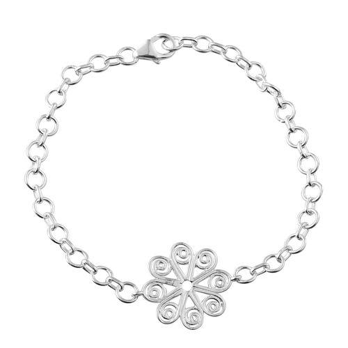 Designer Inspired Sterling Silver Floral Bracelet (Size 7.5), Silver wt. 5.37 Gms.
