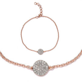 Diamond Pave 0.25 Ct Silver Mini Disc Charm Bracelet in Rose Gold Overlay (Size 7.5)