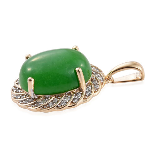Limited Available-9K Y Gold Green Jade (Ovl 9.75 Ct), Natural Cambodian Zircon Pendant 10.000 Ct.