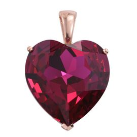 J Francis Crystal from Swarovski - Fuchsia Colour Crystal (Hrt) Pendant in Rose Gold Overlay Sterling Silver