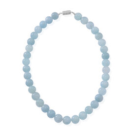 AAA Rare Size Aquamarine Beads Necklace (Size 18) in Rhodium Plated Sterling Silver 500.000 Ct.