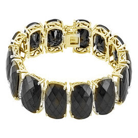 Checkerboard Faceted  Boi Ploi Black Spinel (Cush) Bracelet in 14K Gold Overlay Sterling Silver (Size 8) 135.000 Ct.