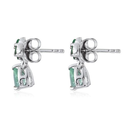 Kagem Zambian Emerald (Pear), Diamond Earrings (with Push Back) in Platinum Overlay Sterling Silver 1.010 Ct.