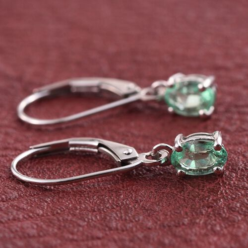 9K W Gold Boyaca Colombian Emerald (Ovl) Lever Back Earrings 1.000 Ct.