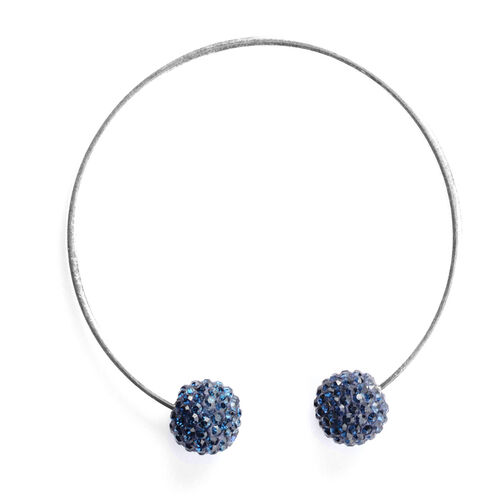 Dark Blue Austrian Crystal Cuff Bangle in Sterling Silver (Size 7)