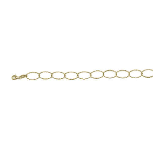 Vicenza Collection Yellow Gold Overlay Sterling Silver Oval Link Necklace (Size 36), Silver wt 7.79 Gms.