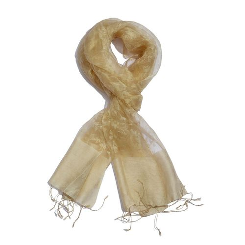 100% Silk Beige Colour Self Printed Scarf (Size 180x50 Cm)