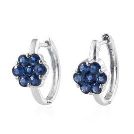 2.25 Carat Kanchanaburi Blue Sapphire Floral Hoop Earrings in Platinum Overlay Sterling Silver