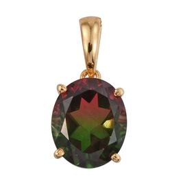 Bi-Color Tourmaline Quartz (Ovl) Solitaire Pendant in 14K Gold Overlay Sterling Silver 5.500 Ct.
