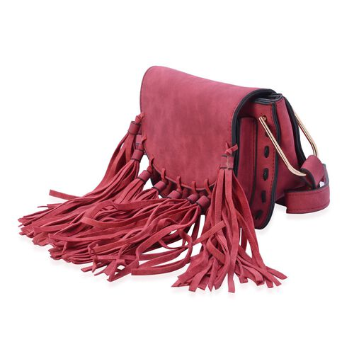 Burgundy Colour Crossbody Bag with Fringes at the Bottom and Shoulder Strap (Size 19x15.5x10 Cm)