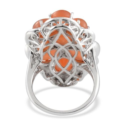Mitiyagoda Peach Moonstone (Ovl 2.25 Ct) Ring in Platinum Overlay Sterling Silver 15.500 Ct.