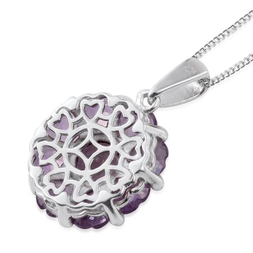 Rose De France Amethyst Floral Pendant With Chain in Platinum Overlay Sterling Silver 4.250 Ct.