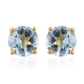 Espirito Santo Aquamarine 1 Carat Round Solitaire Stud Earrings with Push Back in Gold Overlay Sterling Silver