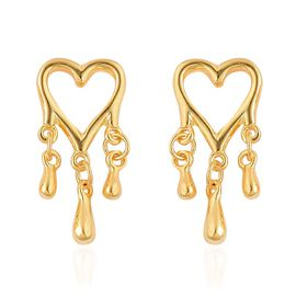 LucyQ Melting Heart with Drip Stud Earrings (with Push Back) in Yellow Gold Overlay Sterling Silver 3.21 Gms.