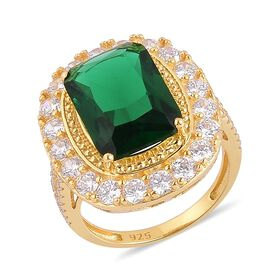 AAA Simulated Emerald and Simulated White Diamond Ring in Yellow Gold Overlay Sterling Silver