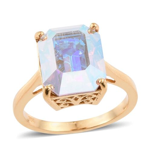 J Francis Crystal from Swarovski - Aurore Boreales Crystal (Oct) Solitaire Ring in 14K Gold Overlay Sterling Silver