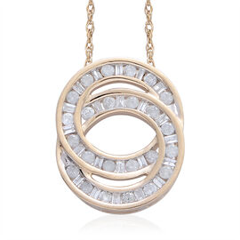 9K Y Gold SGL Certified Diamond (Rnd) (I3/ G-H) Circle of Life Pendant With Chain 0.500 Ct.