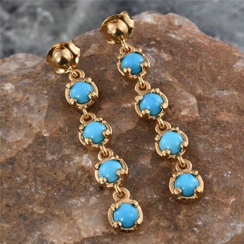 Arizona Sleeping Beauty Turquoise (Rnd) Earrings (with Push Back) in 14K Gold Overlay Sterling Silver 2.000 Ct.