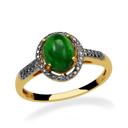 Green Ethiopian Opal (Ovl 1.00 Ct), Diamond Ring in 14K Gold Overlay Sterling Silver 1.020 Ct.