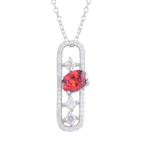AAA Simulated Garnet (Ovl), Simulated White Diamond Pendant With Chain in Rhodium Plated Sterling Silver