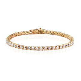 J Francis Crystal from Swarovski - Aurore Boreales Crystal (Rnd) Tennis Bracelet (Size 7.5) in ION Plated 18K Yellow Gold Bond
