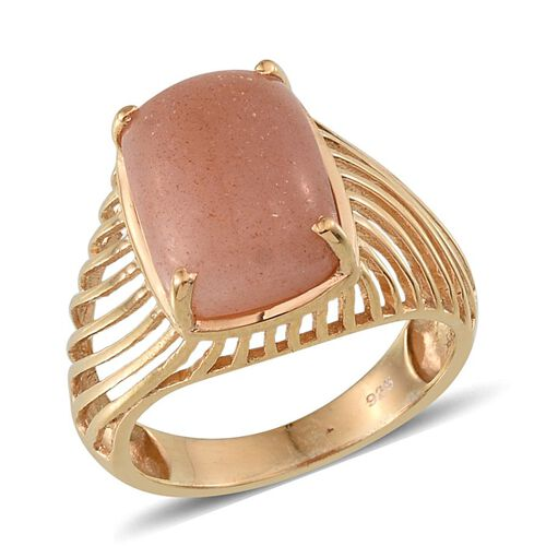 Morogoro Peach Sunstone (Cush) Solitaire Ring in 14K Gold Overlay Sterling Silver 7.250 Ct.