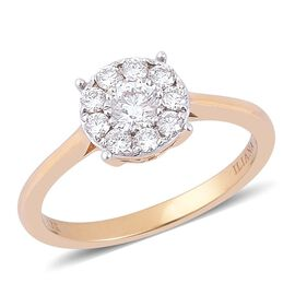 ILIANA 18K Yellow Gold IGI Certified 0.50 Carat Diamond Floral Ring (SI/G-H).
