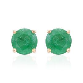 9K Y Gold AAA Kagem Zambian Emerald (Rnd) Stud Earrings (with Push Back) 1.000 Ct.