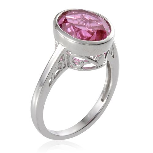 Kunzite Colour Quartz (Ovl) Solitaire Ring in Platinum Overlay Sterling Silver 6.000 Ct.