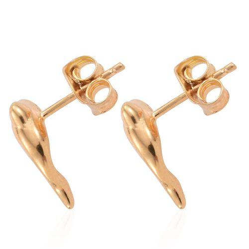 14K Gold Overlay Sterling Silver Dolphin Stud Earrings (with Push Back)