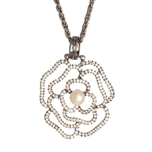 White Austrian Crystal and Simulated White Pearl Pendant With Chain in Black Tone