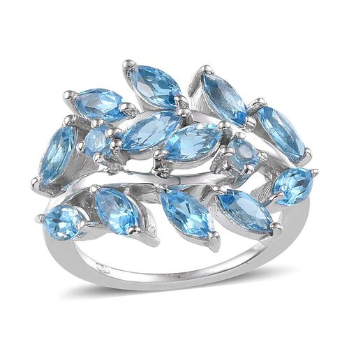Electric Swiss Blue Topaz (Mrq) Ring in Platinum Overlay Sterling Silver 3.500 Ct.