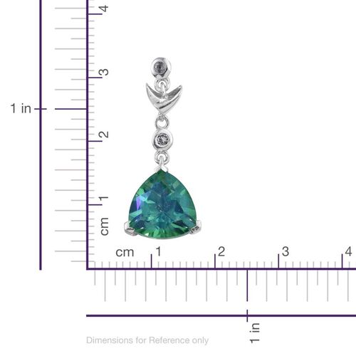 Peacock Quartz (Trl), White Topaz Earrings (with Push Back) in Platinum Overlay Sterling Silver 7.000 Ct.