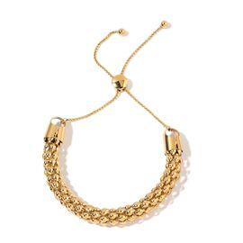 Designer Inspired Popcorn Chain Adjustable Bracelet (Size 6 to 9) in Gold Tone