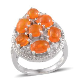 Orange Ethiopian Opal (Rnd 0.50 Ct), White Topaz Ring in Platinum Overlay Sterling Silver 3.000 Ct.
