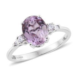 ILIANA 18K W Gold Kunzite (Ovl 3.35 Ct), Diamond Ring 3.500 Ct.