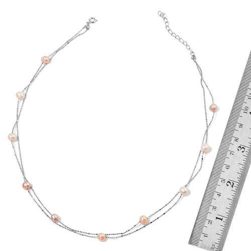 Fresh Water Multi Colour Pearl Necklace (Size 36) and Bracelet (Size 7.50) in Silver Tone