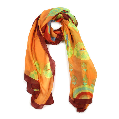 100% Mulberry Silk Multi Colour Floral Pattern Orange Colour Scarf (Size 180x100 Cm)