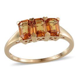 ILIANA 18K Y Gold AAA Yellow Sapphire (Oct) Trilogy Ring 1.750 Ct.