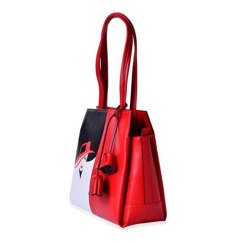 MILANO COLLECTION Citta Glamour Red Hat Lady Tote Bag with External Zipper Pocket (Size 29x27x12 Cm)