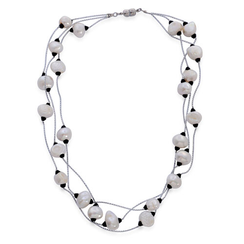 Fresh Water White Pearl and Simulated Black Spinel 3 Strand Necklace (Size 18) in Silver Tone