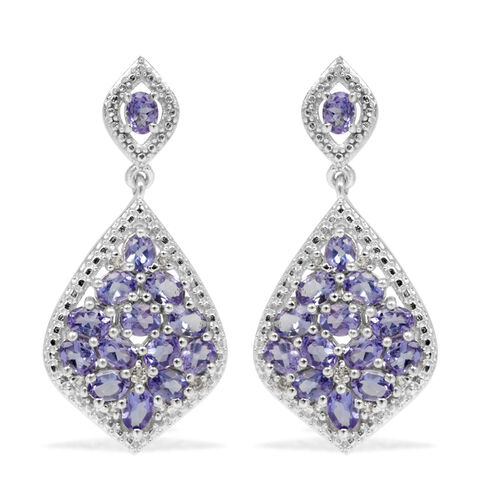 Tanzanite (Ovl), White Topaz Earrings (with Push Back) in Platinum Overlay Sterling Silver 5.250 Ct.