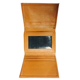 Genuine Leather Tan Colour RFID Tri-Fold Men Wallet with Card Holder (Size 10x8.5 Cm)