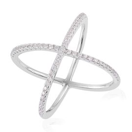 ELANZA AAA Simulated White Diamond (Rnd) Criss Cross Ring in Rhodium Plated Sterling Silver