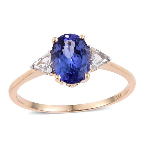 14K Y Gold AA Tanzanite (Ovl 2.25 Ct), Diamond (I2/G-H) Ring 2.500 Ct.