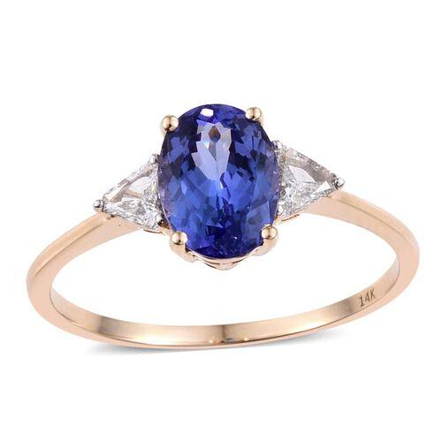 14K Y Gold AA Tanzanite (Ovl 2.25 Ct), Diamond (I2/G-H) Ring 2.500 Ct.