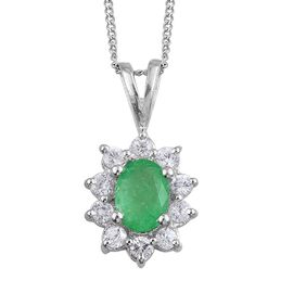 Boyaca Colombian Emerald (Ovl 0.75 Ct), Natural Cambodian Zircon Pendant with Chain in Platinum Overlay Sterling Silver 1.250 Ct.