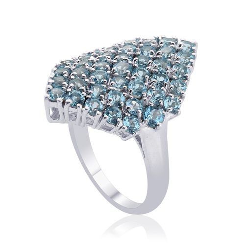 Electric Swiss Blue Topaz (Rnd) Cluster Ring in Platinum Overlay Sterling Silver 3.500 Ct.
